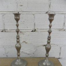 Antiques - pareja de candelabros cromados - 27440554