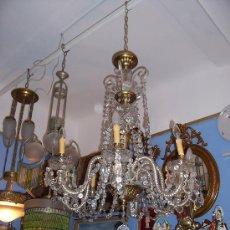 Antigüedades: GRAN LAMPARA DE PRINCIPIOS DEL SIGLO XX EN CRISTAL Y BRONCE.. Lote 27478600