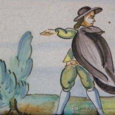 Antigüedades: AZULEJO RACHOLA RAJOLA CON MARCO DE MANISES O TRIANA CAMPESNO Y ARBOL PRINC. S.XX. Lote 27482699