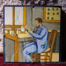 Antigüedades: AZULEJO ANTIGUO REPRESENTANDO EL OFICIO DE RELOJERO . Lote 27490051