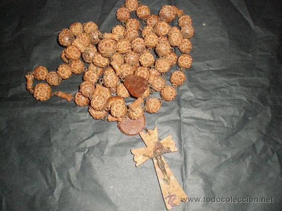 ROSARIO CON CUENTAS DE MADERA (Antigüedades - Religiosas - Rosarios Antiguos)