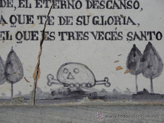 AZULEJO RACHOLA RAJOLA PLACA FUNERARIA TALAVERA TERCIO GUARDIA CIVIL VILLAVICIOSA ( OVIEDO) 1876 (Antigüedades - Porcelanas y Cerámicas - Talavera)