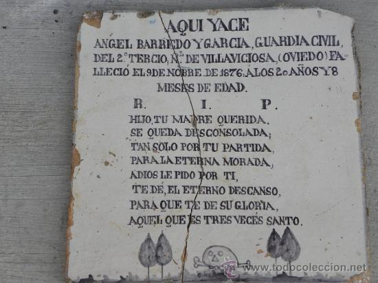 Antigüedades: Azulejo rachola rajola placa funeraria Talavera Tercio Guardia Civil Villaviciosa ( Oviedo) 1876 - Foto 2 - 27502991