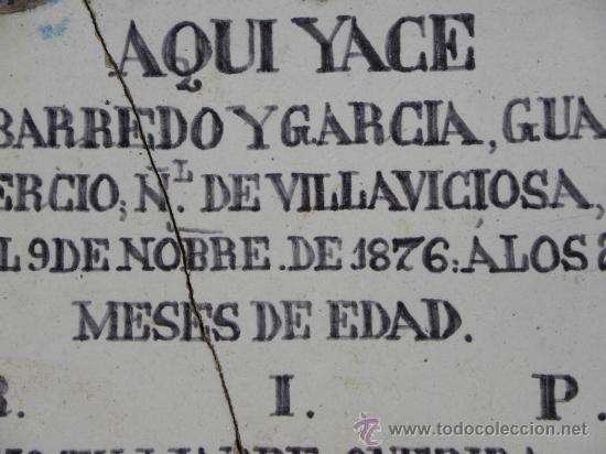 Antigüedades: Azulejo rachola rajola placa funeraria Talavera Tercio Guardia Civil Villaviciosa ( Oviedo) 1876 - Foto 4 - 27502991