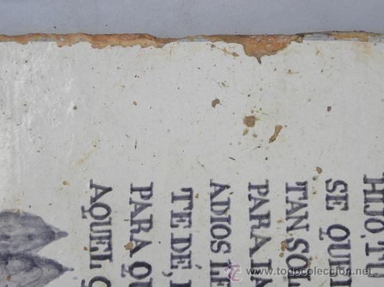Antigüedades: Azulejo rachola rajola placa funeraria Talavera Tercio Guardia Civil Villaviciosa ( Oviedo) 1876 - Foto 5 - 27502991