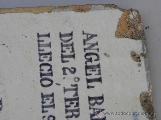 Antigüedades: Azulejo rachola rajola placa funeraria Talavera Tercio Guardia Civil Villaviciosa ( Oviedo) 1876 - Foto 6 - 27502991