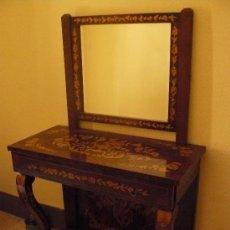 Antigüedades: MUEBLE APARADOR DE MARQUETERIA CON ESPEJO. Lote 27542941