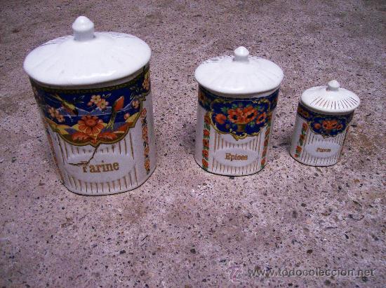 3 TARROS / BOTES DE COCINA / AÑOS 40-50 (Antigüedades - Porcelana y Cerámica - Francesa - Limoges)