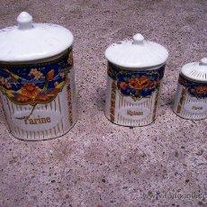 Antigüedades: 3 TARROS / BOTES DE COCINA / AÑOS 40-50. Lote 27556493