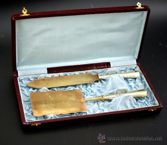 PAREJA DE CUBIERTOS PARA SERVIR POSTRES EN METAL PLATEADO - AÑOS 50 (Antigüedades - Platería - Bañado en Plata Antiguo)
