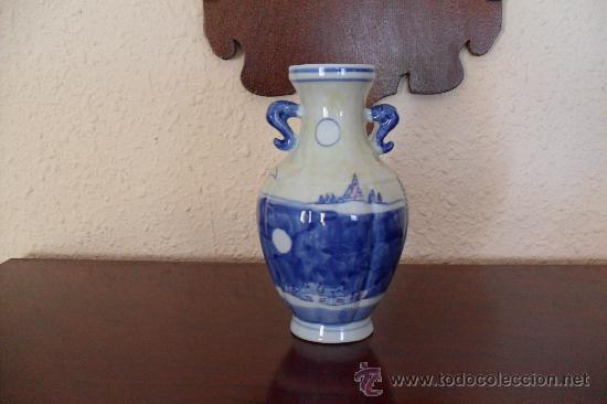 ANTIGUO FLORERO,JARRON,MANISES?TALAVERA?ASAS FORMA SERPIENTE (Antigüedades - Porcelanas y Cerámicas - Manises)