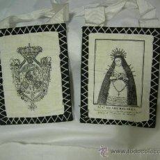 Antigüedades: PRECIOSO Y ANTIGUO ESCAPULARIO NTA. SRA. DE LOS DOLORES, YGLESIA STO. TOMAS DE MADRID. Lote 27650691