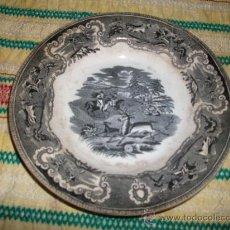 Antigüedades: PLATO DE ESCENAS DE CACERIAS,FABRICA DE CARTAGENA LA AMISTAD. Lote 35804441