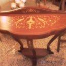 Antigüedades: PEQUEÑA CONSOLA CON MARQUETERIA. Lote 27787836