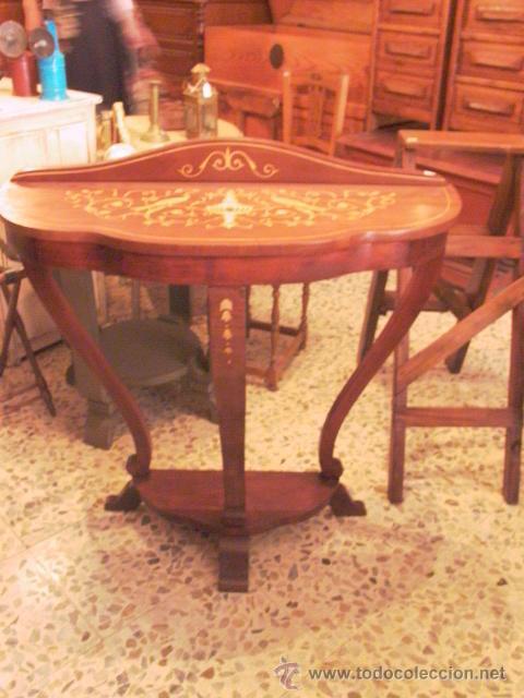 Antigüedades: PEQUEÑA CONSOLA CON MARQUETERIA - Foto 2 - 27787836