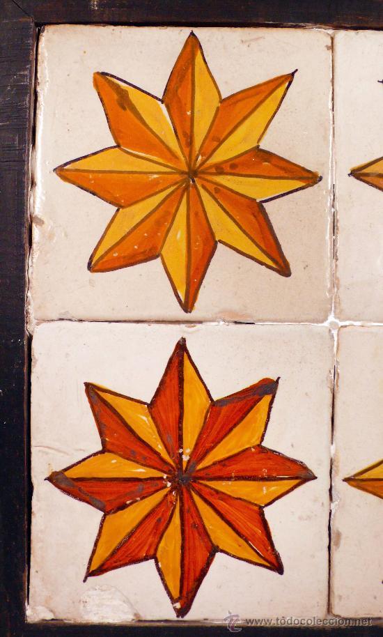 Antigüedades: Plafón de 4 azulejos antiguos, 13,5 cm cada uno. - Foto 3 - 27792913