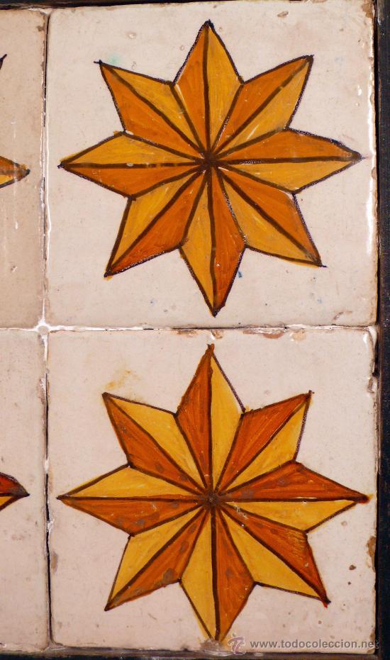 Antigüedades: Plafón de 4 azulejos antiguos, 13,5 cm cada uno. - Foto 2 - 27792913