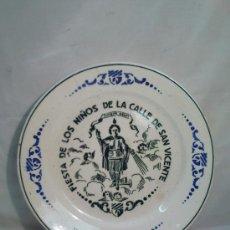Antigüedades: ANTIGUO PLATO DECORATIVO. FIESTA DE LOS NIÑOS DE LA CALLE DE SAN VICENTE. Lote 27966693