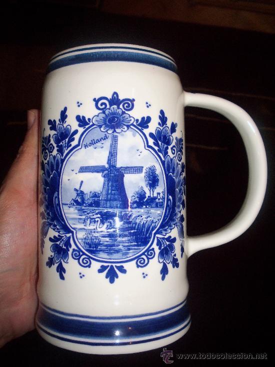 JARRA DE CERVEZA HOLANDESA DELFT BLUE (Antigüedades - Porcelana y Cerámica - Holandesa - Delft)