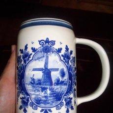 Antigüedades: JARRA DE CERVEZA HOLANDESA DELFT BLUE. Lote 27822557
