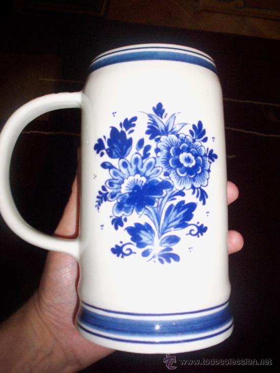 Antigüedades: Jarra de Cerveza Holandesa Delft Blue - Foto 2 - 27822557