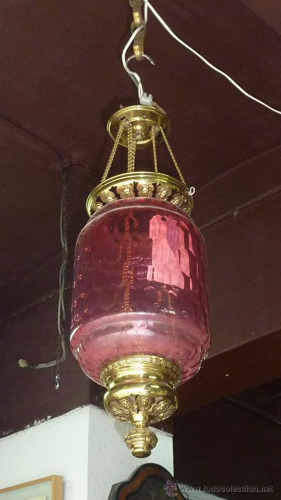 Antigüedades: lampara farol de 1930s en laton y cristal prensado. - Foto 2 - 27838066