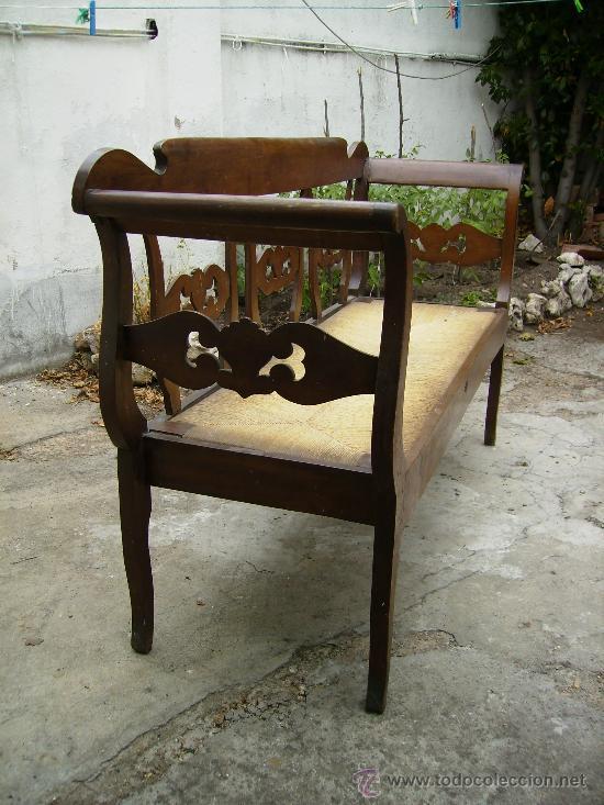 Antigüedades: bonito sofá de anea esta perfecto ni tiene ni ha tenido carcoma 1,50 de largo 48 fond 90 de alt - Foto 6 - 27892654