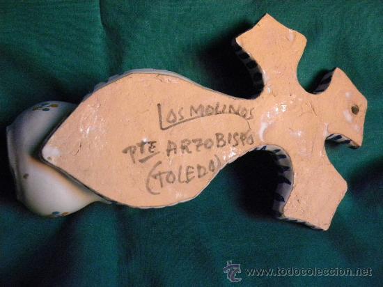 Antigüedades: Benditera aguabenditera pila cerámica Puente Arzobispo.Los Molinos.Cristo en la cruz - Foto 5 - 27907173