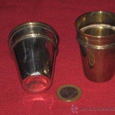 Antigüedades: DOS VASOS ANTIGUOS DE METAL PLATEADO. Lote 28085070
