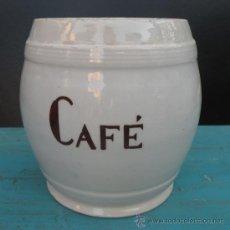 Antigüedades: ANTIGUO BOTE DE CAFE DE CERAMICA NO CONSERVA SU TAPA MEDIDAS ALTO 20 CENTIMETROS Y PERIMETRO 16 CENT. Lote 27937730