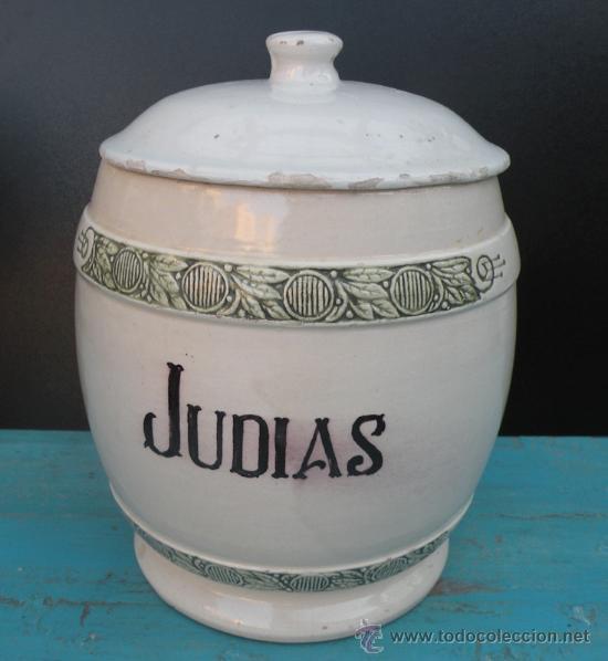 ANTIGUO BOTE DE CAFE DE JUDIAS QUE CONSERVA SU TAPA MEDIDAS ALTO 20 CENTIMETROS Y PERIMETRO 16 CENTI (Antigüedades - Porcelanas y Cerámicas - Otras)