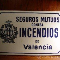 Antigüedades: SEGUROS MUTUOS CONTRA INCENDIOS DE VALENCIA - AZULEJO ANTIGUO - MITAD S. XX -. Lote 27943664