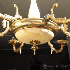 Antigüedades: LAMPARA DE BRONCE Y LATON. Lote 27953019