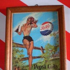Antigüedades: CUADRO ANTIGUO PEPSI COLA CON PIN UP . Lote 27953930