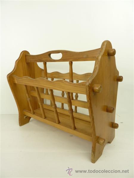 Antigüedades: revistero de madera clara - Foto 2 - 27972795