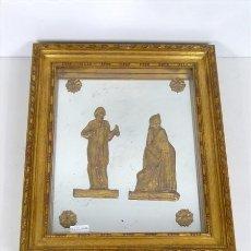 Antigüedades: MARCON CON FIGURAS DE MADERAS DORADAS. Lote 27972807