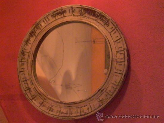 ESPEJO REDONDO EN BLANCO DECAPE (Antigüedades - Muebles Antiguos - Espejos Antiguos)