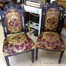 Antigüedades: PAREJA DE SILLAS ALFONSINAS. Lote 28046145