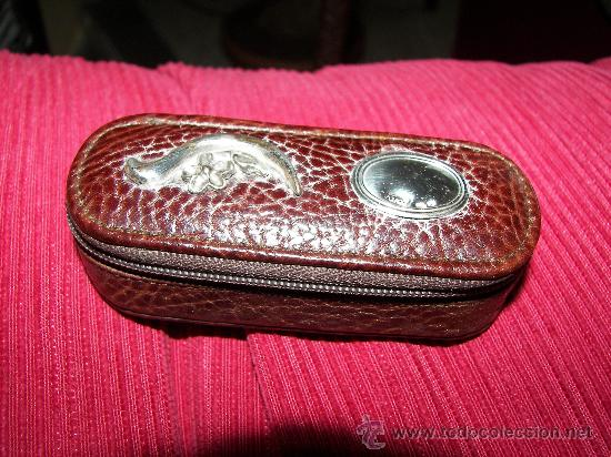 Antigüedades: porta pintalabios de cuero y plata - Foto 2 - 28051906