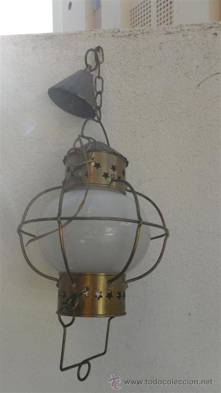 Antigüedades: farol de metal y tulipa de cristal opalina - Foto 3 - 28064007