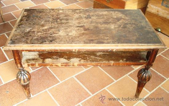 Mesa de centro de madera con pata isabelina pa comprar for Como restaurar una mesa de madera