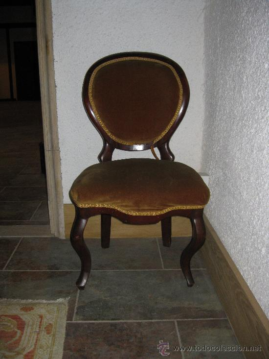 SILLA ISABELINA DE CAOBA TAPIZADA EN , S. XIX (Antigüedades - Muebles Antiguos - Sillas Antiguas)