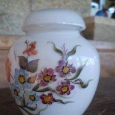Antigüedades: JARRON DE CRISTAL PINTADO A MANO. OPALINA. Lote 28254806