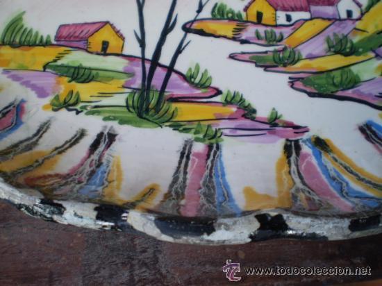 Antigüedades: ANTIGUA BANDEJA PINTADA A MANO.PORTUGAL - Foto 4 - 28255031