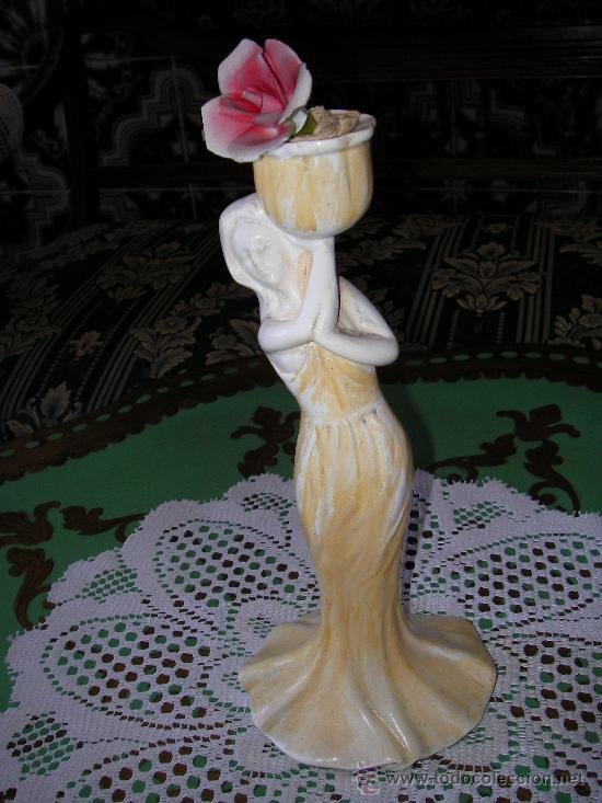 Antigüedades: FIGURA ANTIGUA DE PORCELANA HECHA A MANO SELLADA POR WORK OF ART - Foto 3 - 28255049