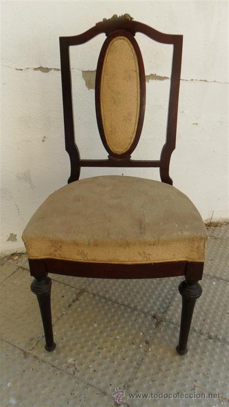 SILLA DE CAOBA CON EMBELLESEDORES DE BRONCE (Antigüedades - Muebles Antiguos - Sillas Antiguas)