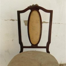 Antigüedades: SILLA DE CAOBA CON EMBELLESEDORES DE BRONCE. Lote 28270105