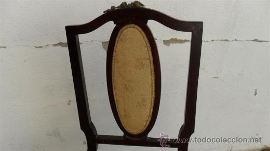 Antigüedades: silla de caoba con embellesedores de bronce - Foto 3 - 28270105