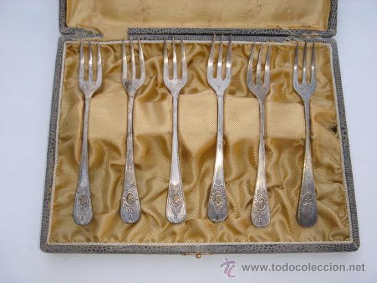 JUEGO DE 6 TENEDORES PLATEADOS. (Antigüedades - Plateria - Varios)