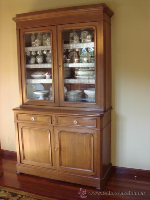 Antigua vitrina o libreria en madera de roble comprar - Imagenes de vitrinas de madera ...